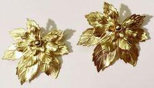 boucles d'oreille clips vintage finement travaillé feuille couleur or * 3913