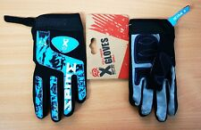 X Rated Kids Children Cycling Bike Full Finger Velcro BMX Gloves in Blue Small
