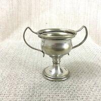 Vintage Miniature Trophy Double à Poignées Vierge Non Gravé Plaqué Argent