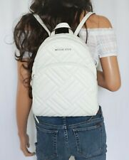 MICHAEL KORS ABBEY MEDIUM QUILTED LEATHER BACKPACK OPTIC WHITE/SILVER