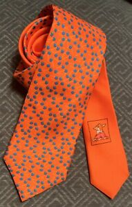 Thomas Pink Men's Blue Cherry Print Orange Silk Necktie Made In Italy NWOT Fox