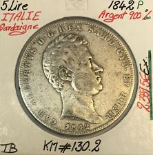 ITALIE - 5 LIRE 1842 P - SARDAIGNE - Pièce de Monnaie en Argent // TB