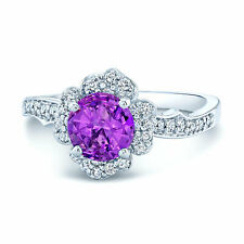 Round Pink Sapphire Diamond 14K White Gold Ring Floral Halo Cocktail Solitaire