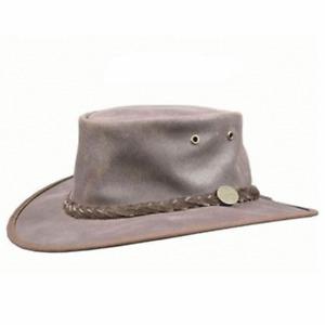 Barmah Foldaway Oiled Leather Hat - Brown