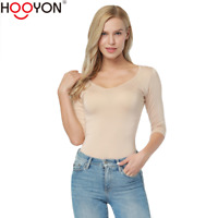 Women Basic 3/4 Sleeves Scoop Neck T Shirt Stretch Plain Top Layer Fitted Blank