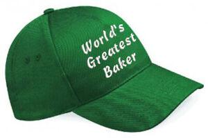 Embroidered World's Greatest............ Bottle Green Baseball Cap, Ideal Gift