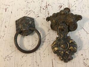 Vintage Brass Lion Head 888 Allison and Ornate 2 Pc Drawer Drop Pulls Set of 2