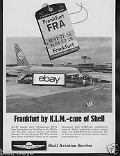 KLM ROYAL DUTCH AIRLINES 1964 DC-8 JET AT FRANKFURT AIRPORT SHELL OIL COMPANY AD