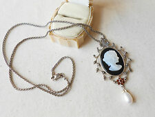 Sterling Silver Cameo Marcasite Garnet Pearl Pendant Necklace   296894
