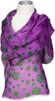 Trachtenschal Lila 100% Modal, Kleeblatt Schal scarf Foulard Écharpe Violet