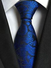 (NT276)New Royal Blue Paisley Design Men Tie Wedding Office Party Formal Necktie