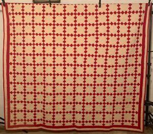 Antique Vintage Cotton Fabrics Early 1900s Turkey Red Irish Chain Quilt UNUSED