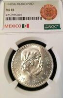 1947 MEXICO SILVER UN PESO MORELOS NGC MS 64 HIGH GRADE BEAUTIFUL COIN !!!