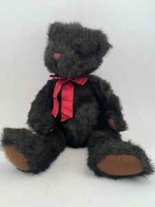 """DICKENS Russ Berrie & Co Plush Teddy Bear with Red BOW Dark BROWN Fur 15"""" VTG"""