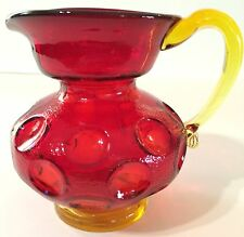Vintage Ruby Red & Yellow Amberina Inverted Thumbprint Art Glass Pitcher