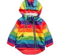 Boys Girl Jacket Clothing Kids Hooded Coats Windbreaker Rainbow Colors Outerwear