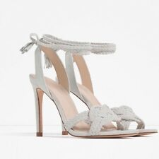 ZARA KNOTTED ROPE W TIES Dove GRAY HEELS SANDALS LEATHER SZ US 9 EUR 40