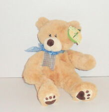 "New First & Main FIPPS Teddy Bear Plush 12"" Tan #1724 Blue Bow P90"