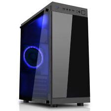 CiT Voyager Black Tempered Glass Gaming PC Case 12cm Blue LED Fan MATX USB 3.0