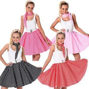 Womens Polka Dot Skirt & Necktie 50s Ladies Fancy Dress Rock n Roll Costume