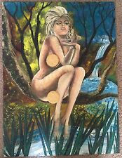 Vintage 60s Nude Woman Painting Retro Art Mid Century Modern Signed Loescher #3