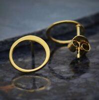 Simple Minimalist 14K Shiny Gold Vermeil Open Circle Stud Studs Post Earrings