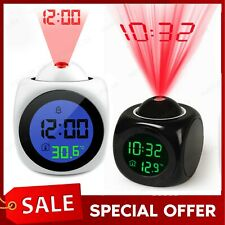 Digital Projection Alarm Clock LCD Display Voice LED Projector Temperature Time