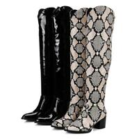Women's Patent Over the Knee Boots Snake Print Slip on Pointed toe Winter Shoes