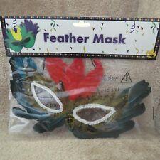 Mardi Grau Feather Mask - Blue/Brown/Red