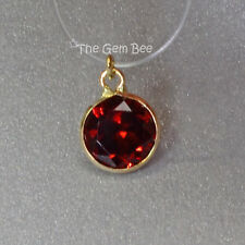 6MM 14k Solid Yellow Gold Red Garnet Circle Bezel Charm pendant (1)