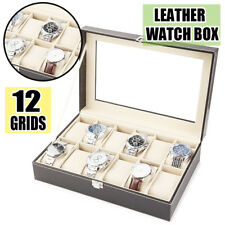 12Slot Watch Box Leather Display Case Organizer Top Glass Pillow Cushion Display