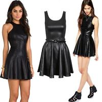 PLUS SIZE WOMENS LADIE SLEEVELESS BELTED PVC SHINY WET LOOK FLARED SKATER DRESS