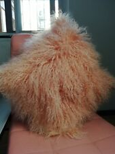 "Handmade Mongolian Fur 16x16"" /40X40cm Square Pink Pillow Cushion & fabric back"