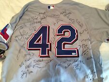 2011 TEXAS RANGERS MLB AUTHENTICATED TEAM SIGNED JERSEY-2011 WS TEAM-RECORD YEAR