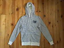 JACK WILLS MENS CREAM / NAVY BLUE STRIPED ZIP UP HOODIE - XS