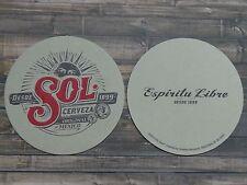Beer COASTER ~ SOL Lager Cerveza El Espiritu Libre ~ Monterrey, Mexico Est 1899
