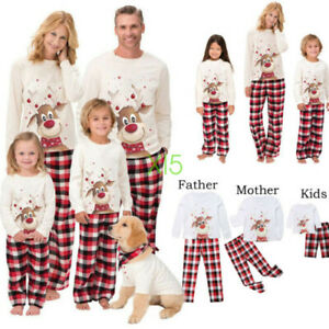 con Maniche Lunghe E Pantaloni Pigiama in Due Pezzi per Bambini Mamma pap/à Puniemo Pigiama per La Famiglia di Natale Completo da Notte in 100/% Cotone