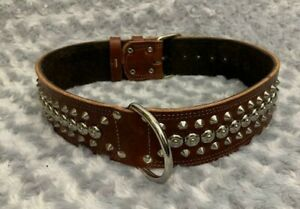 "REAL LEATHER DOG COLLAR 2"" WIDE - STUDDED"