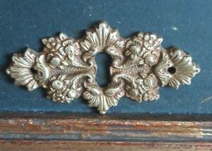 Vintage Solid Bronze Dresser Keyhole Cover Escutcheon