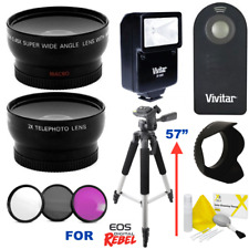 "WIDE ANGLE MACRO LENS + TELEPHOTO ZOOM LENS + 57"" PRO TRIPOD FOR CANON EOS REBEL"