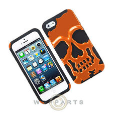 Apple iPhone 5/5S/SE Hybrid Skullcap - Pearl Orange/Black Case Cover Shell