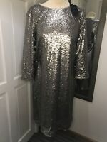 BNWT MARKS & SPENCER Silver Sequin 3/4 Sleeve Shift Dress UK Size 12 Races