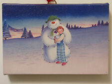 Fibre Optic Canvas Picture Wall or Free Standing Snowman Snowdog & Billy 16x10cm