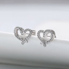 Love Heart Crystal Stud Earrings Silver Plated Daily Party Jewelry Bridal Gifts