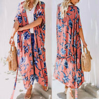 Womens Boho Floral Print Chiffon Kimono Long Cardigan Shawl Loose Outwear Red US