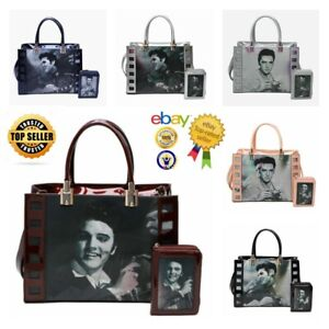 New Women's Celebrity Elvis Presley Singing Star 3D Picture Hand Bag With Purse