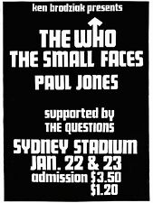 "The Who / Small Faces Australia 16"" x 12"" Photo Repro Concert Poster"