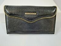 Rebecca Minkoff Cell Phone Wallet Black Pebbled Leather Wristlet Clutch Gold Zip