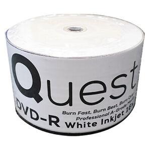 100 x Quest Blank DVD-R White Full Inkjet Printable Disc 16x 4.7GB A-GRADE
