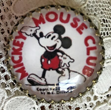 "MICKEY MOUSE CLUB Glass Dome BUTTON 11/4"" Vintage 1930's Theater Pinback Art"